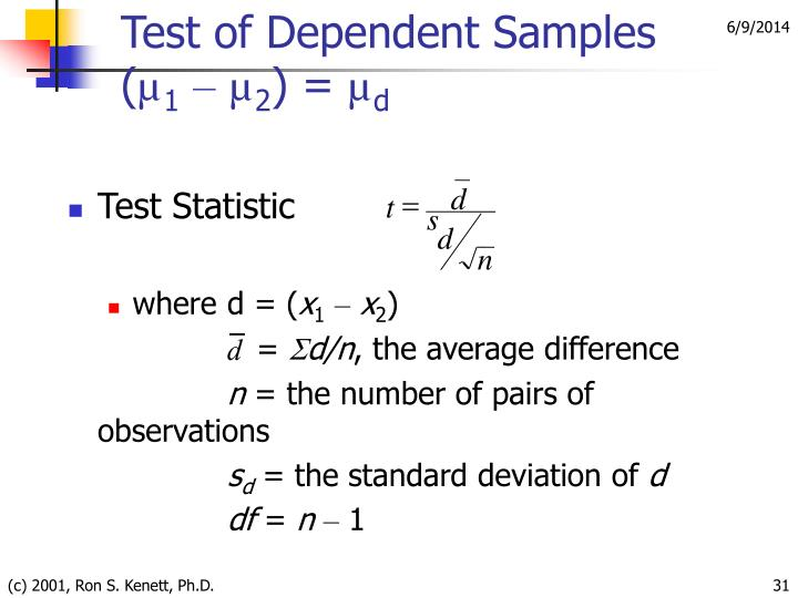 Test of Dependent Samples