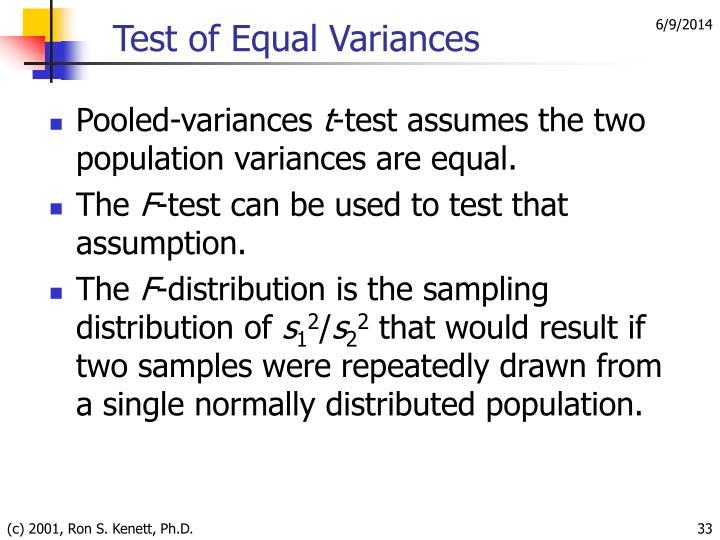 Test of Equal Variances