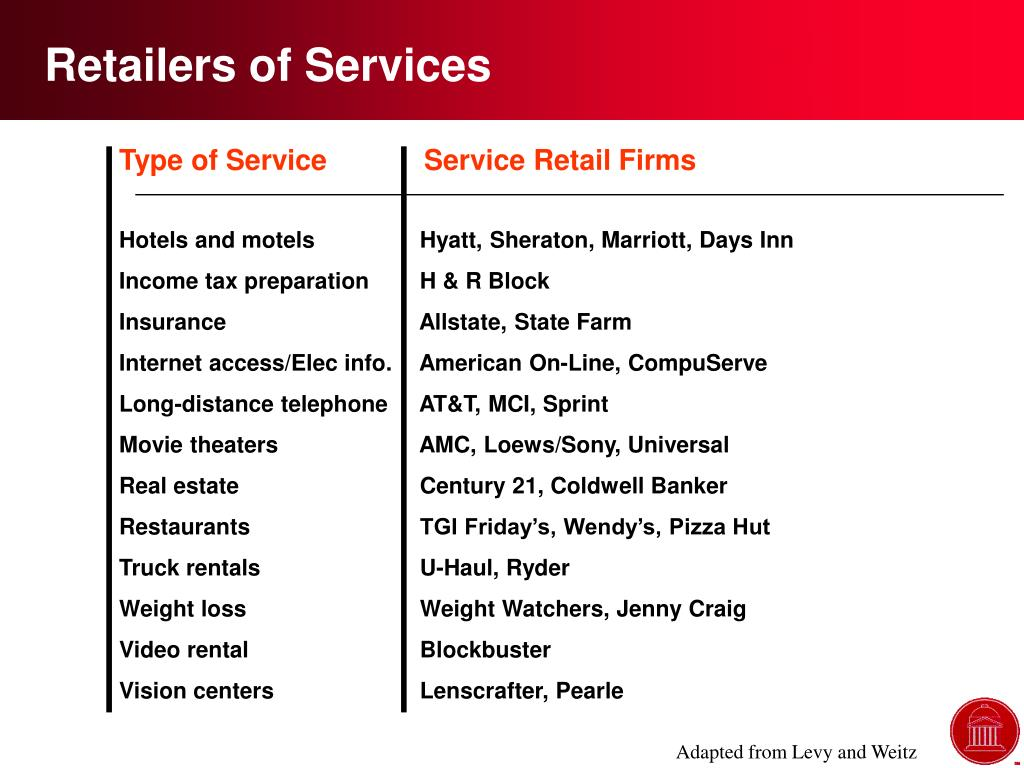 Retailers of Services