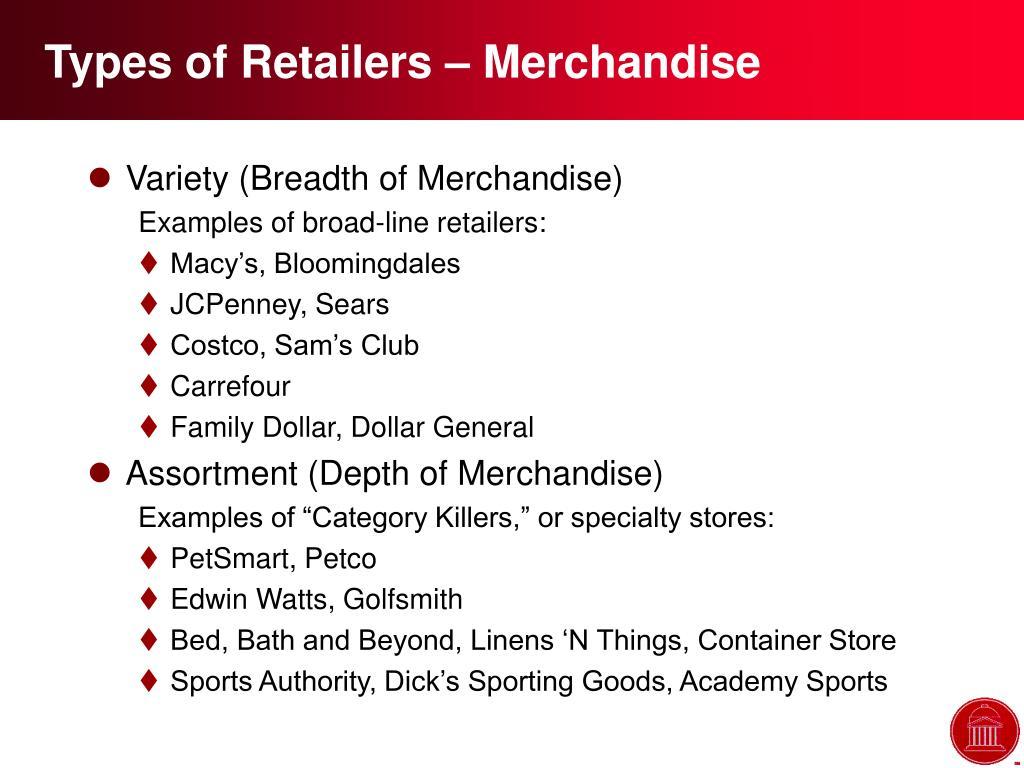 Types of Retailers – Merchandise