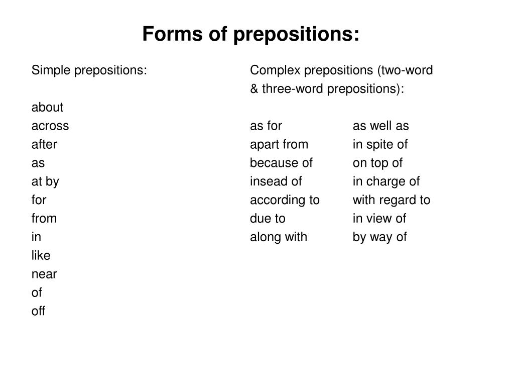 Forms of prepositions: