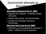 government attempts at regulation