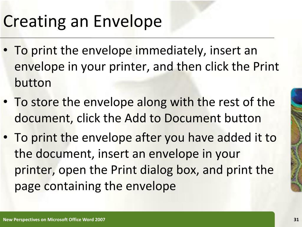 Creating an Envelope