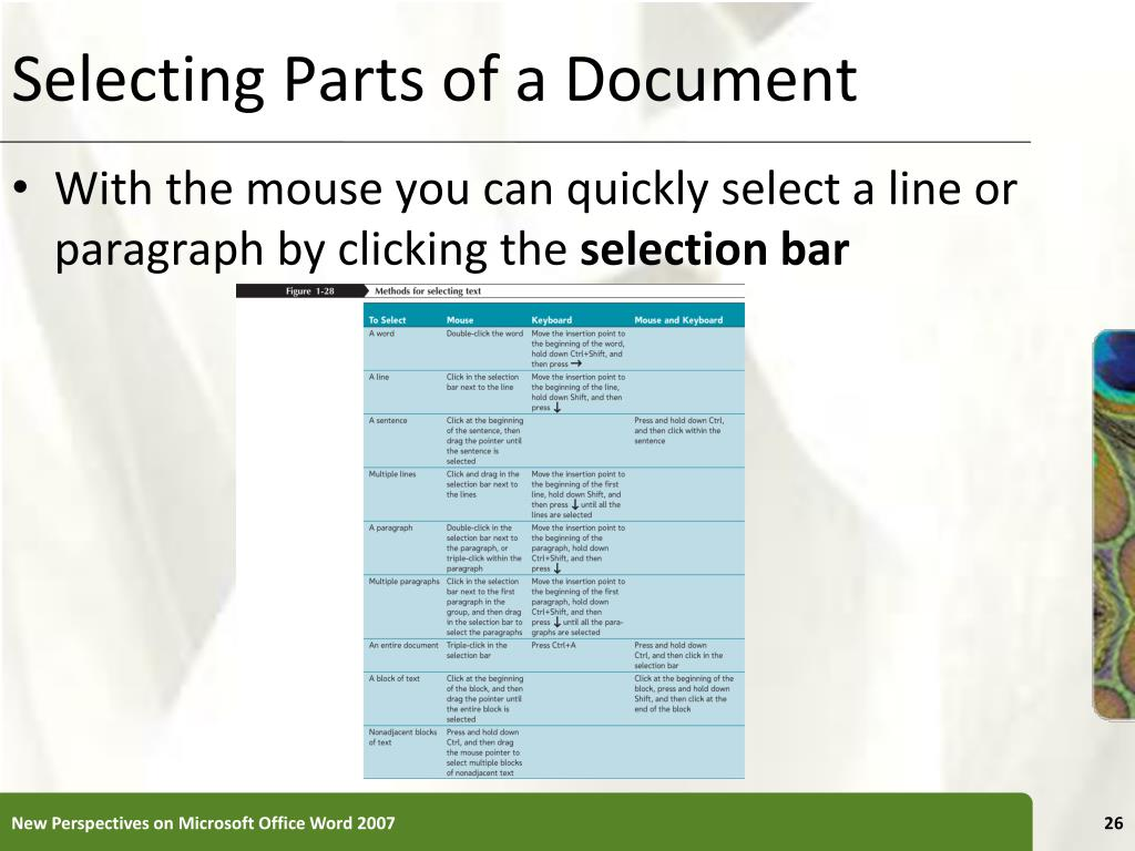 Selecting Parts of a Document