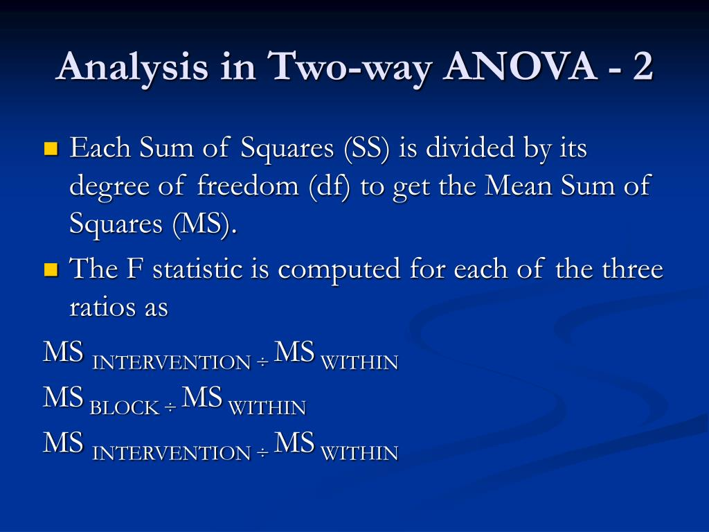 Analysis in Two-way ANOVA - 2