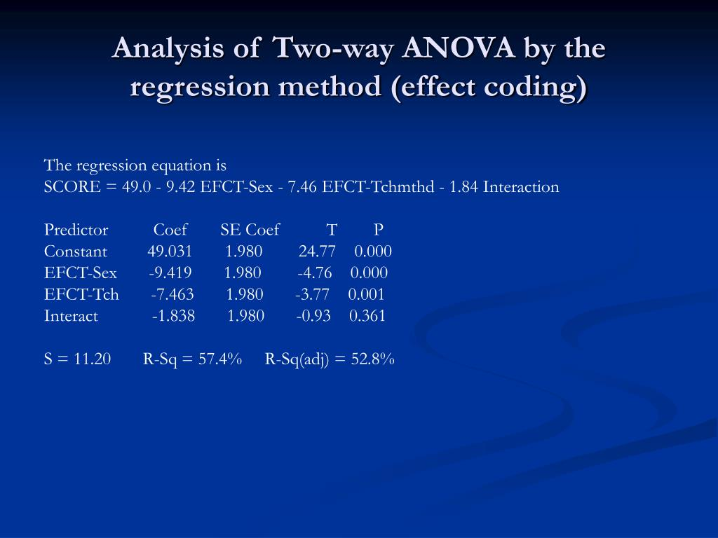 Analysis of Two-way ANOVA by the regression method (effect coding)