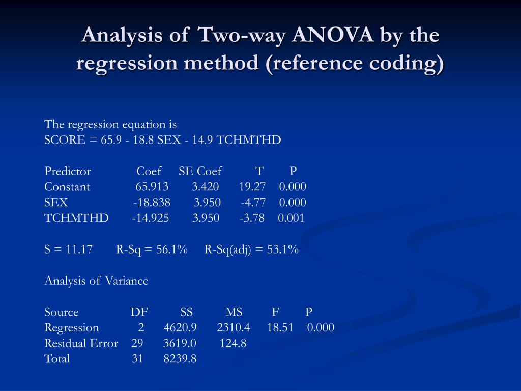 Analysis of Two-way ANOVA by the  regression method (reference coding)
