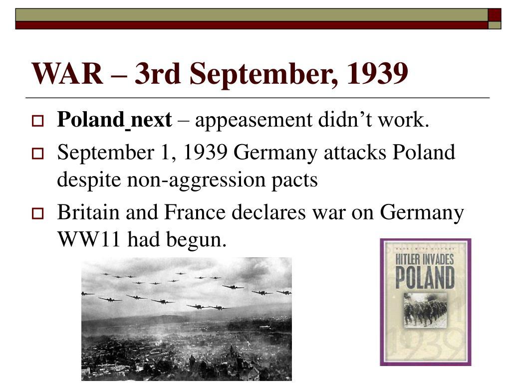 WAR – 3rd September, 1939