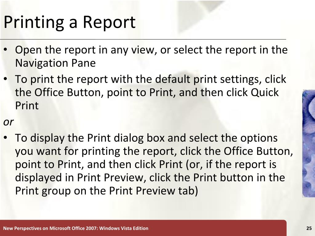 Printing a Report