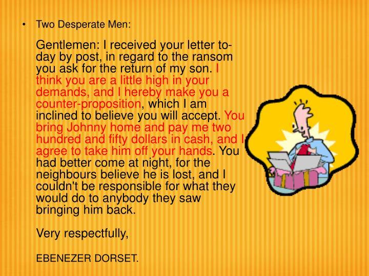Two Desperate Men: