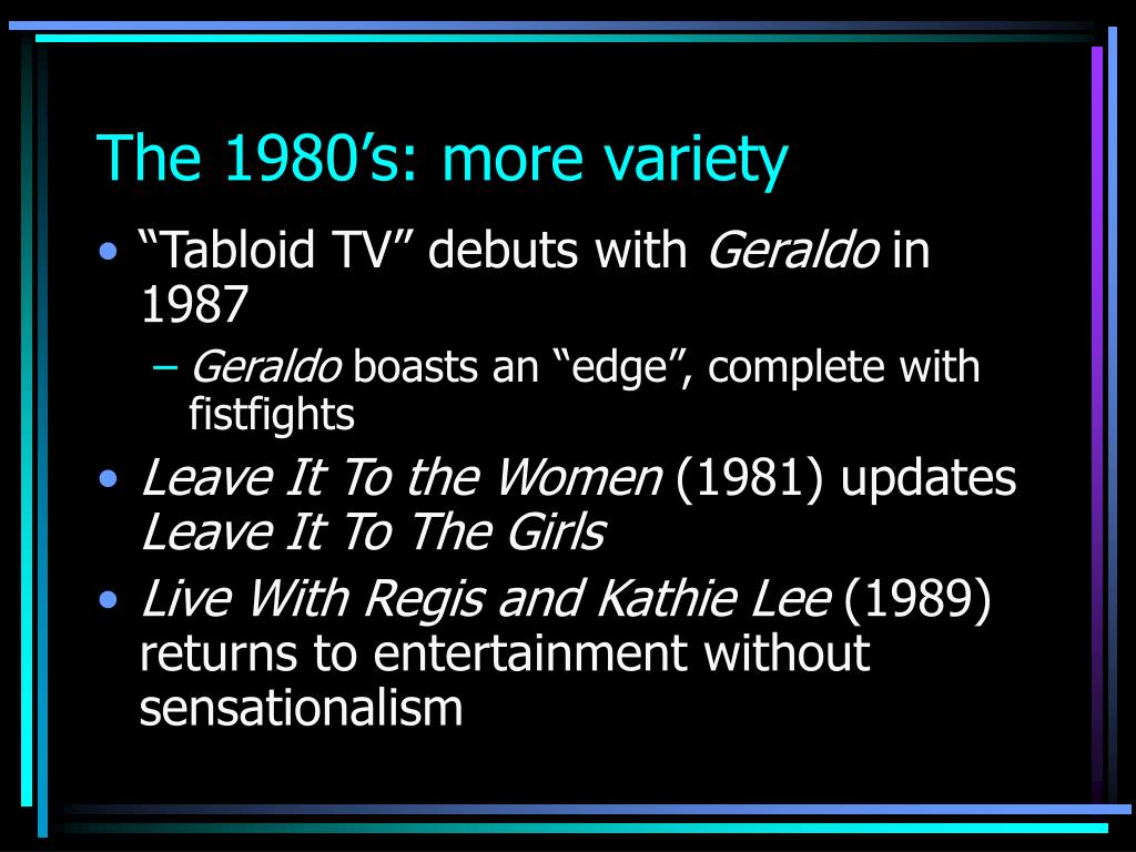 The 1980's: more variety
