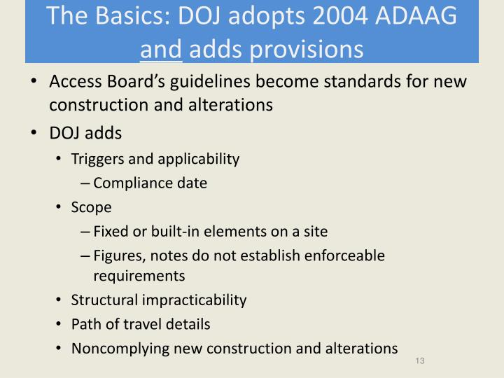 The Basics: DOJ adopts 2004 ADAAG