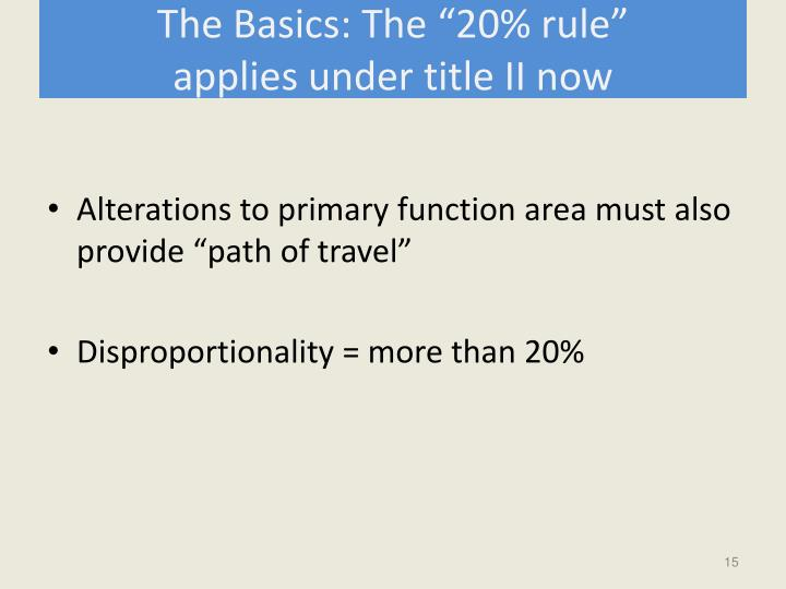 "The Basics: The ""20% rule"""