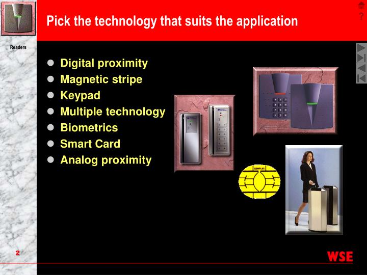 Pick the technology that suits the application