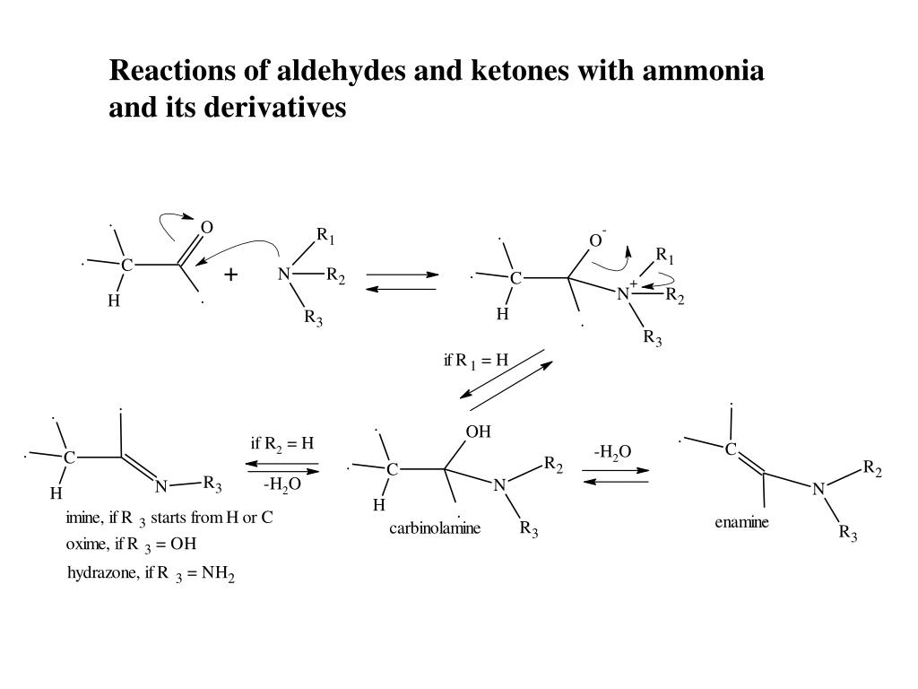 Reactions of aldehydes and ketones with ammonia