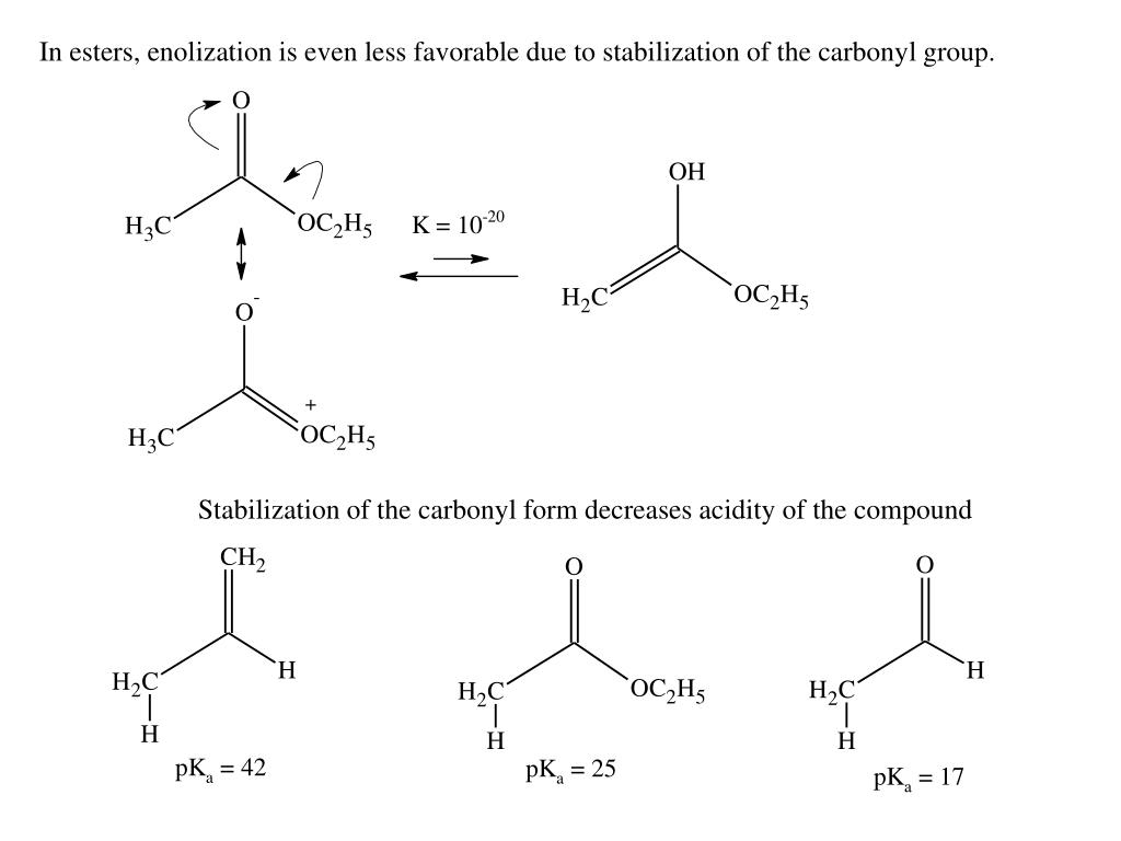 In esters, enolization is even less favorable due to stabilization of the carbonyl group.