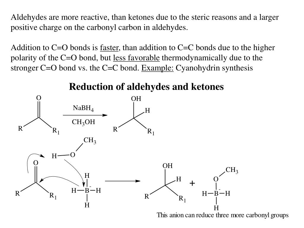 Aldehydes are more reactive, than ketones due to the steric reasons and a larger positive charge on the carbonyl carbon in aldehydes.