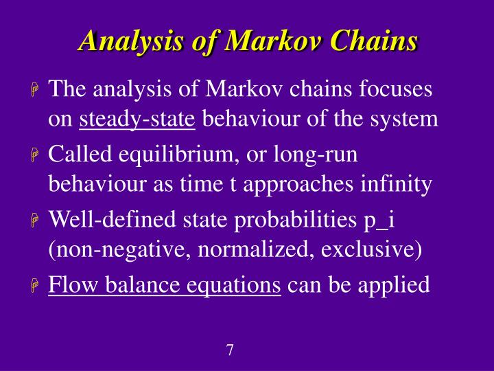 Analysis of Markov Chains