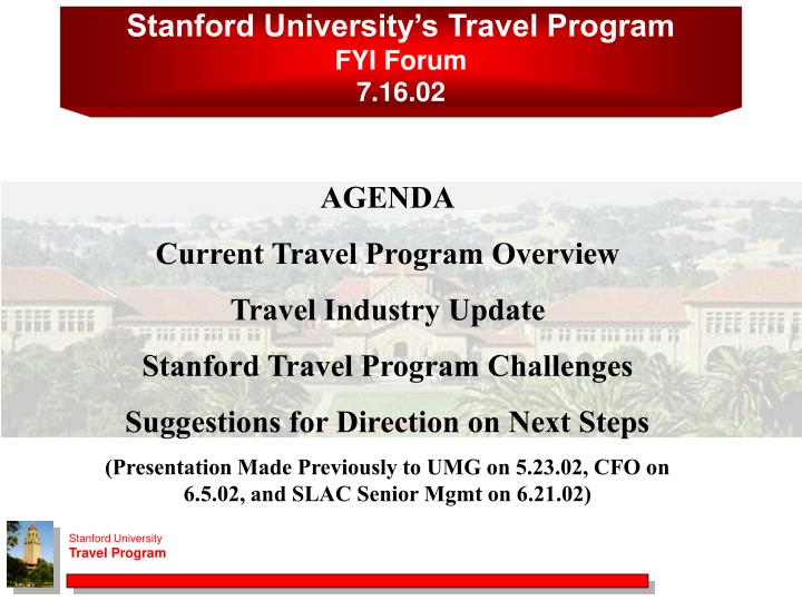 Stanford University's Travel Program