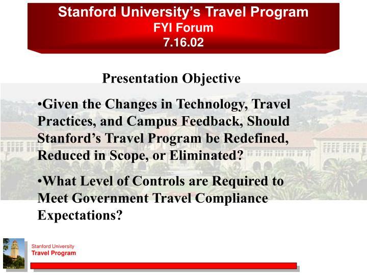 Stanford University's Travel Program