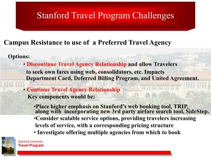 Stanford Travel Program Challenges