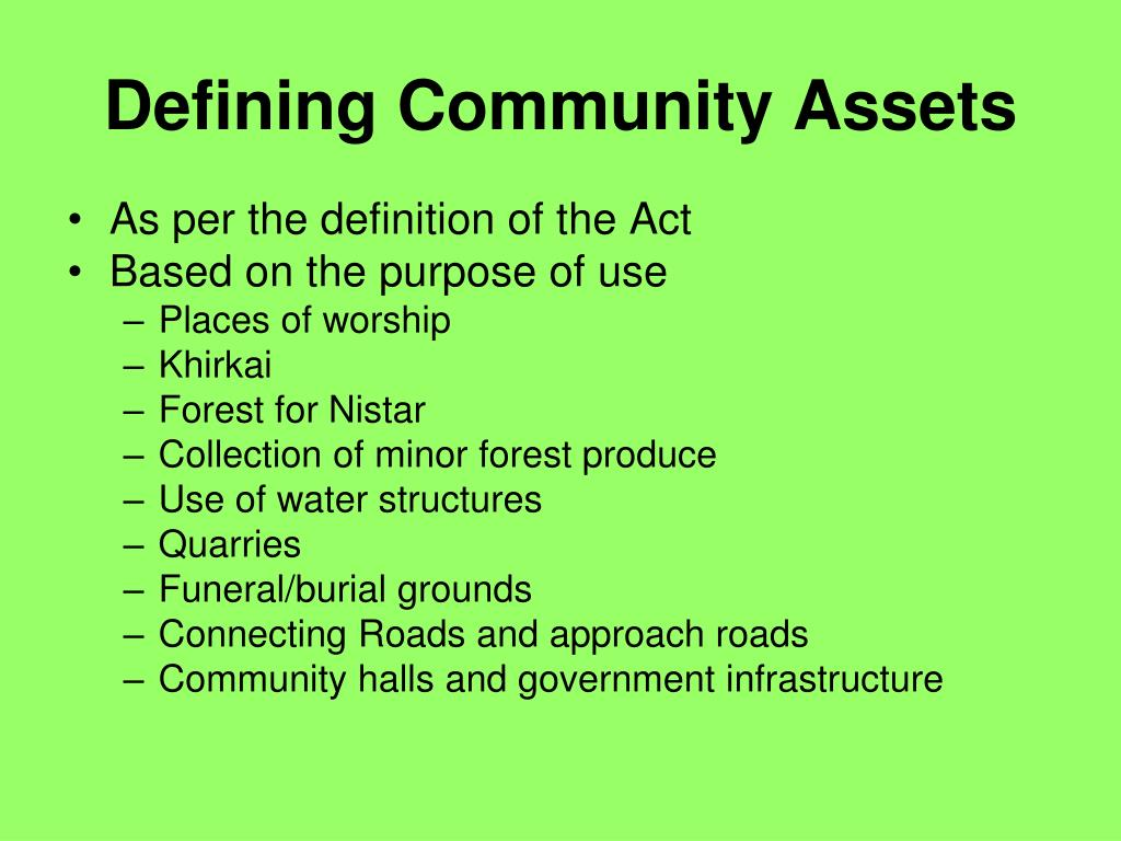 Defining Community Assets