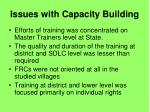 issues with capacity building