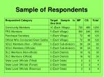 sample of respondents