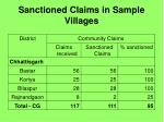 sanctioned claims in sample villages