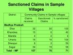 sanctioned claims in sample villages17
