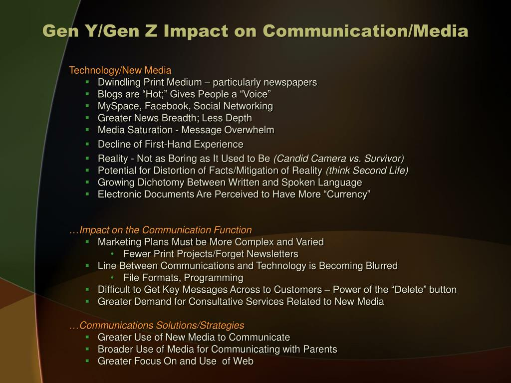 Gen Y/Gen Z Impact on Communication/Media