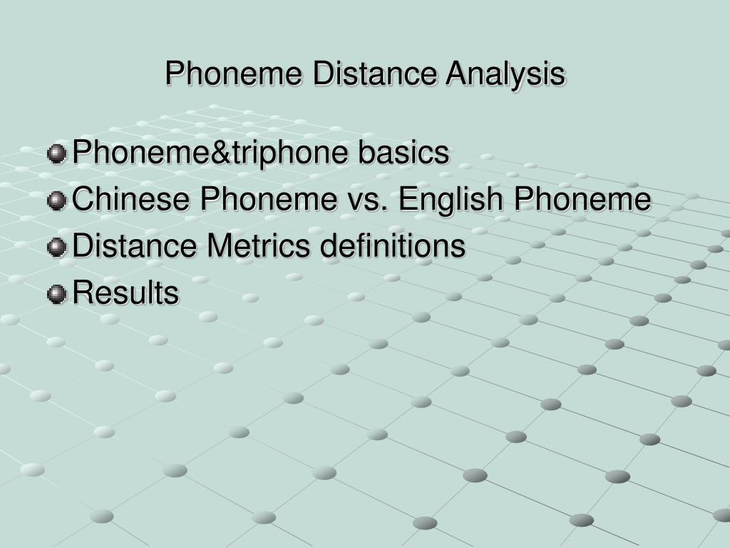 Phoneme Distance Analysis