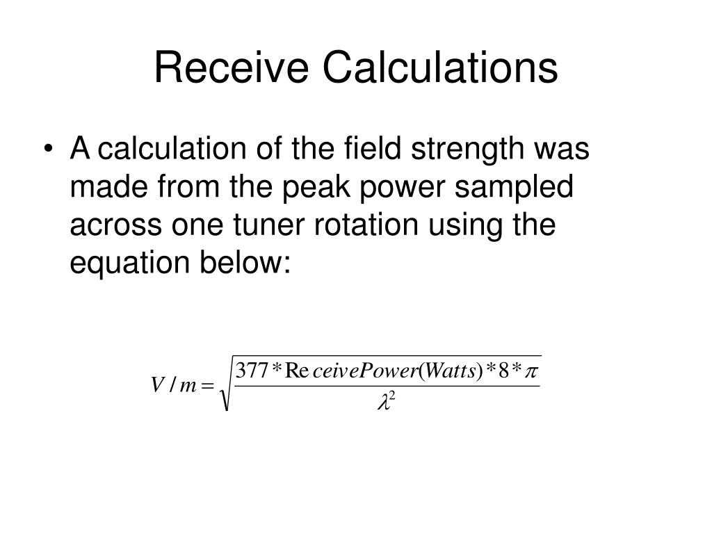 Receive Calculations