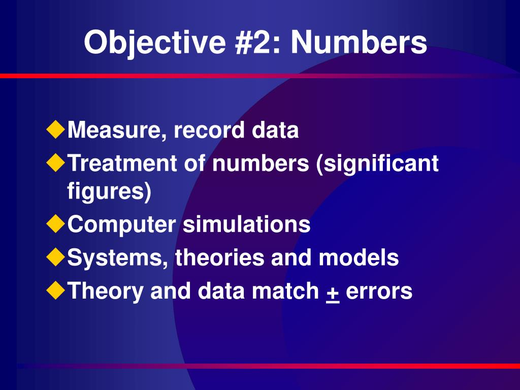 Objective #2: Numbers