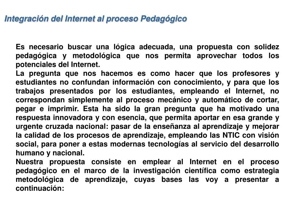 Integración del Internet al proceso Pedagógico