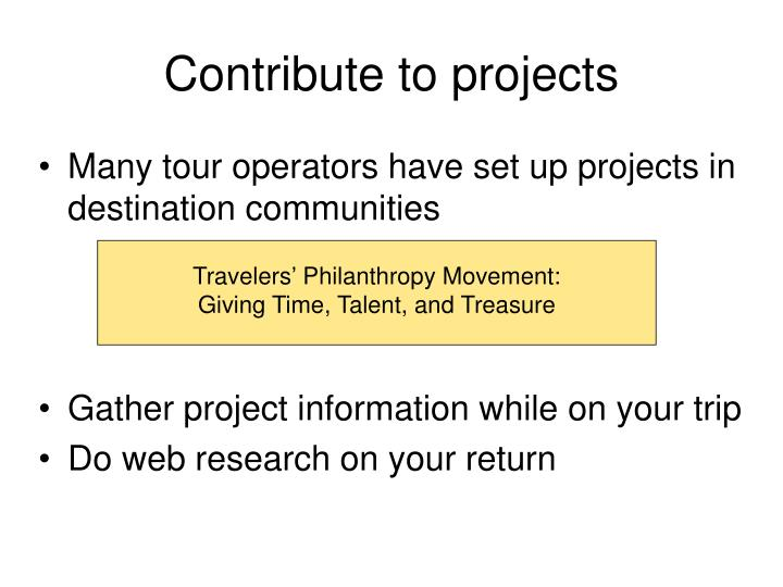 Contribute to projects