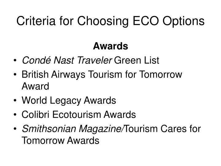 Criteria for Choosing ECO Options