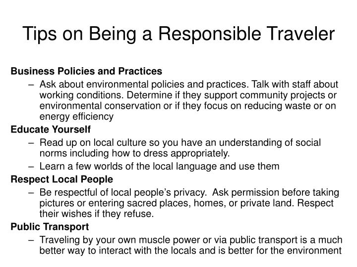 Tips on Being a Responsible Traveler
