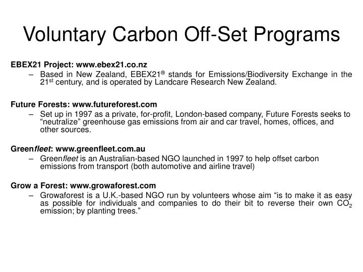 Voluntary Carbon Off-Set Programs