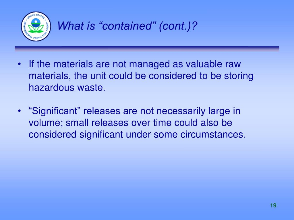 "What is ""contained"" (cont.)?"