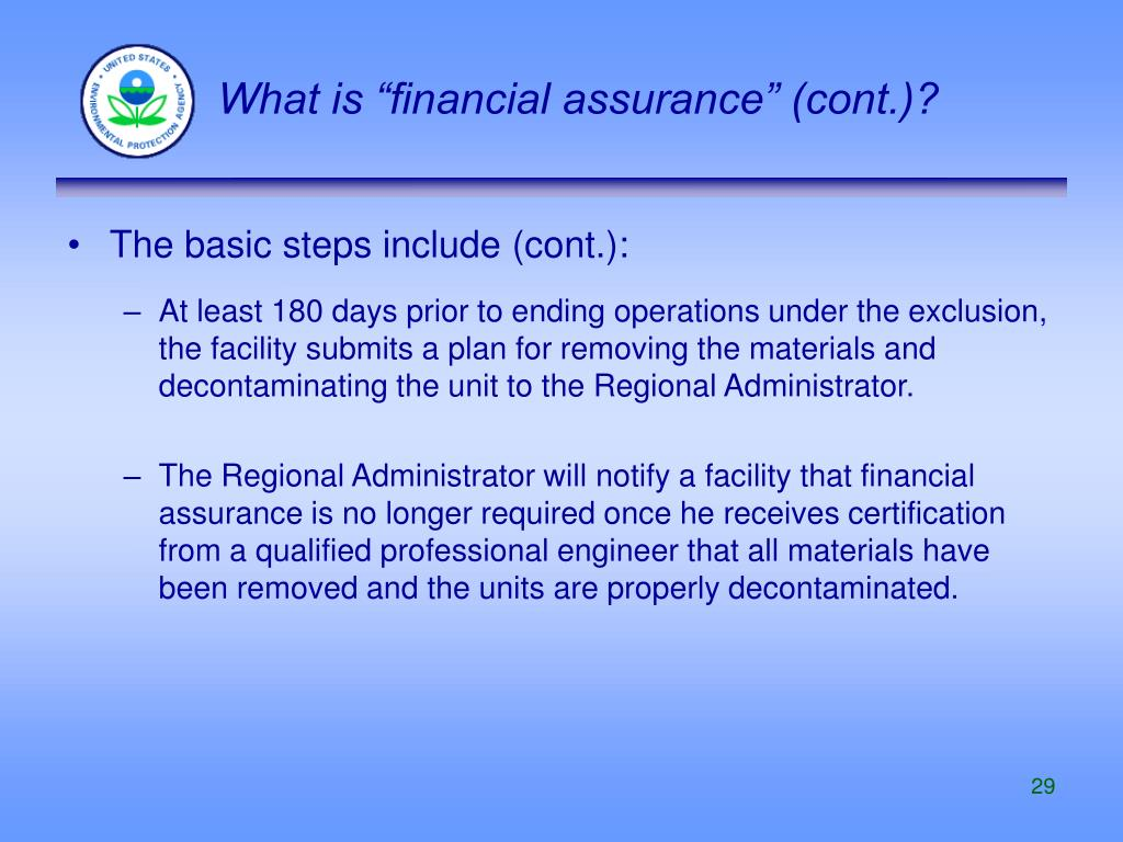 "What is ""financial assurance"" (cont.)?"