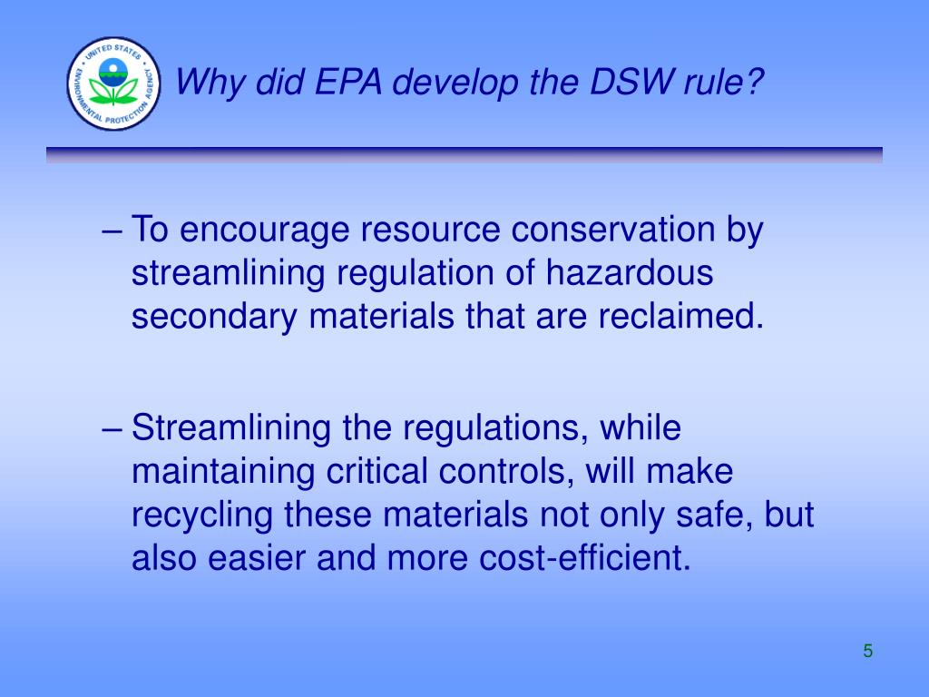 Why did EPA develop the DSW rule?
