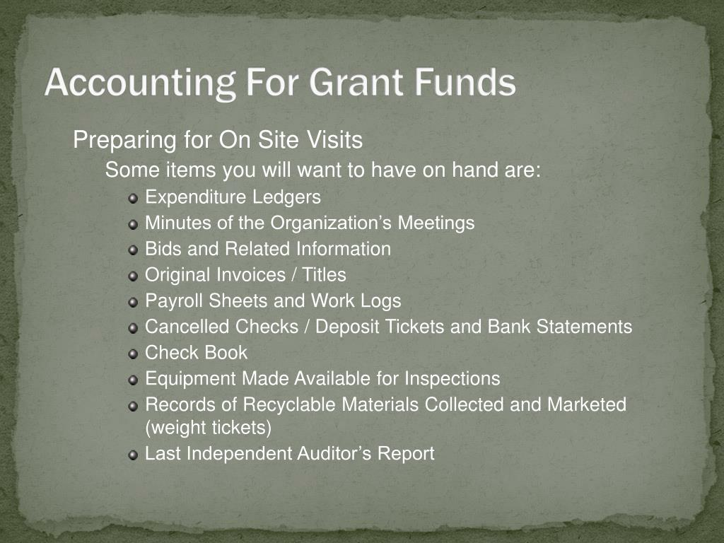 Accounting For Grant Funds