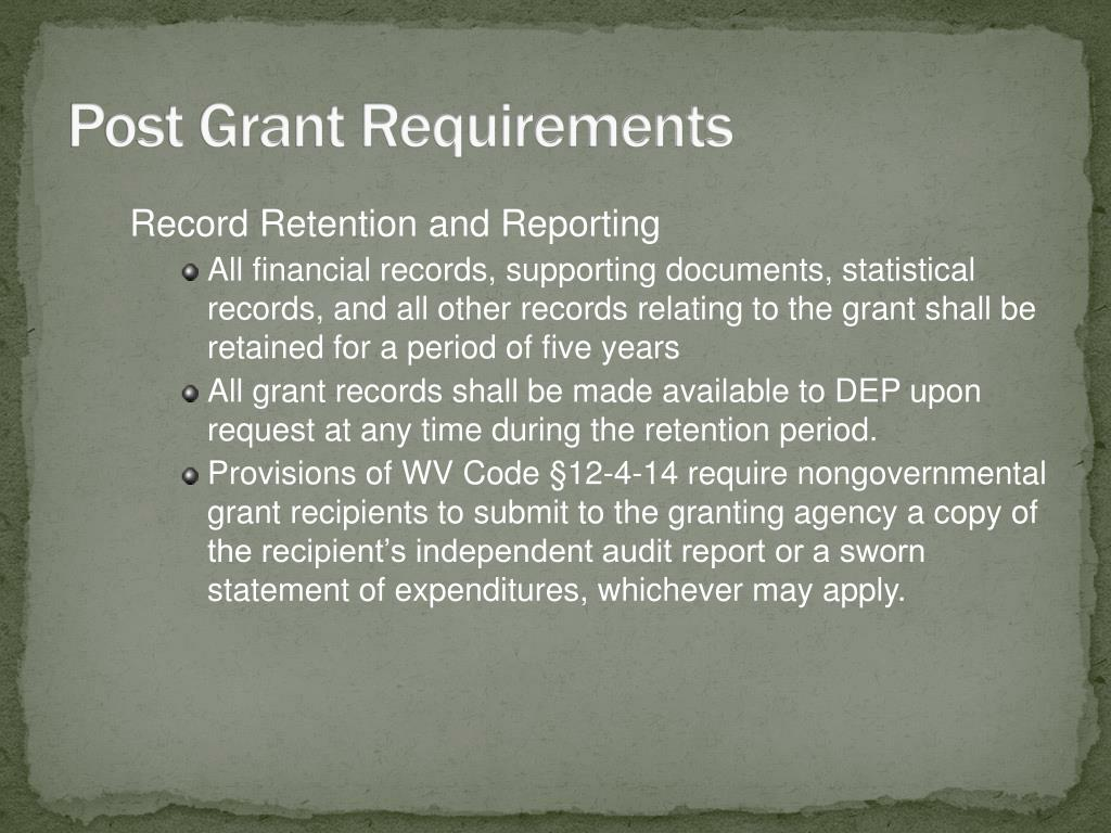 Post Grant Requirements