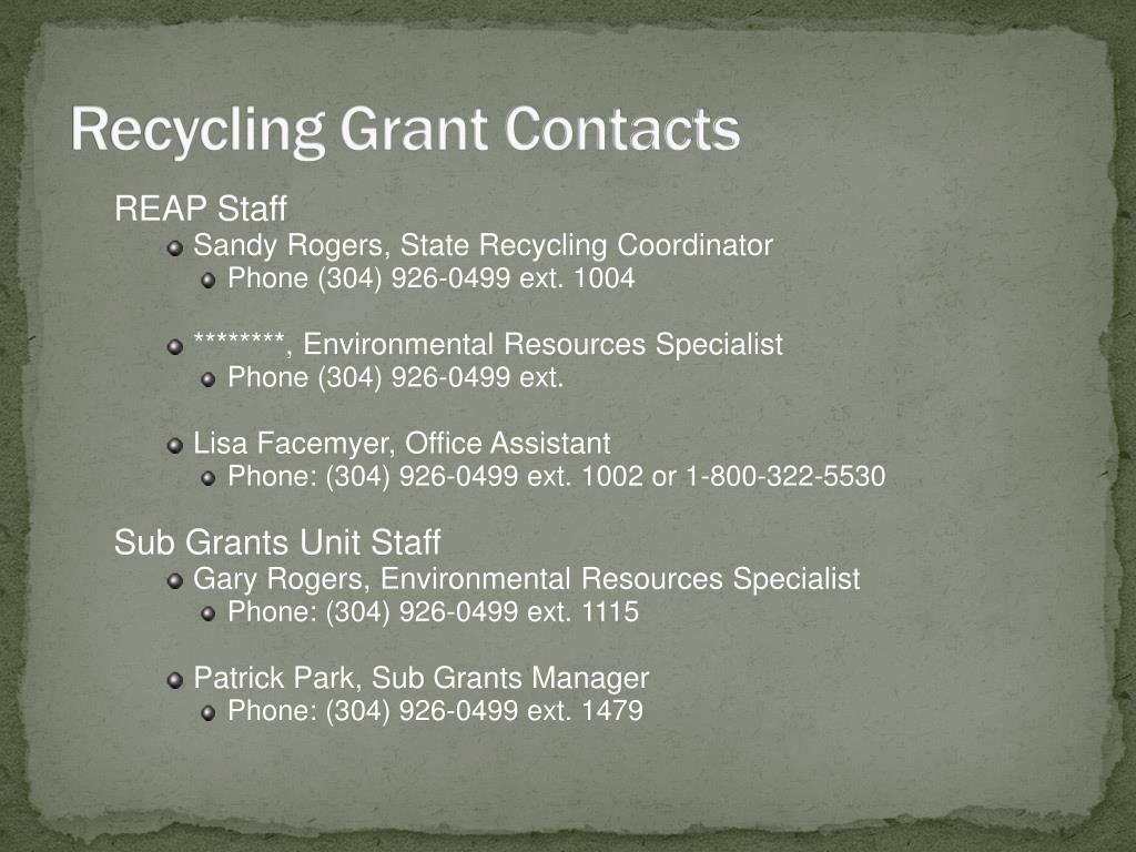 Recycling Grant Contacts