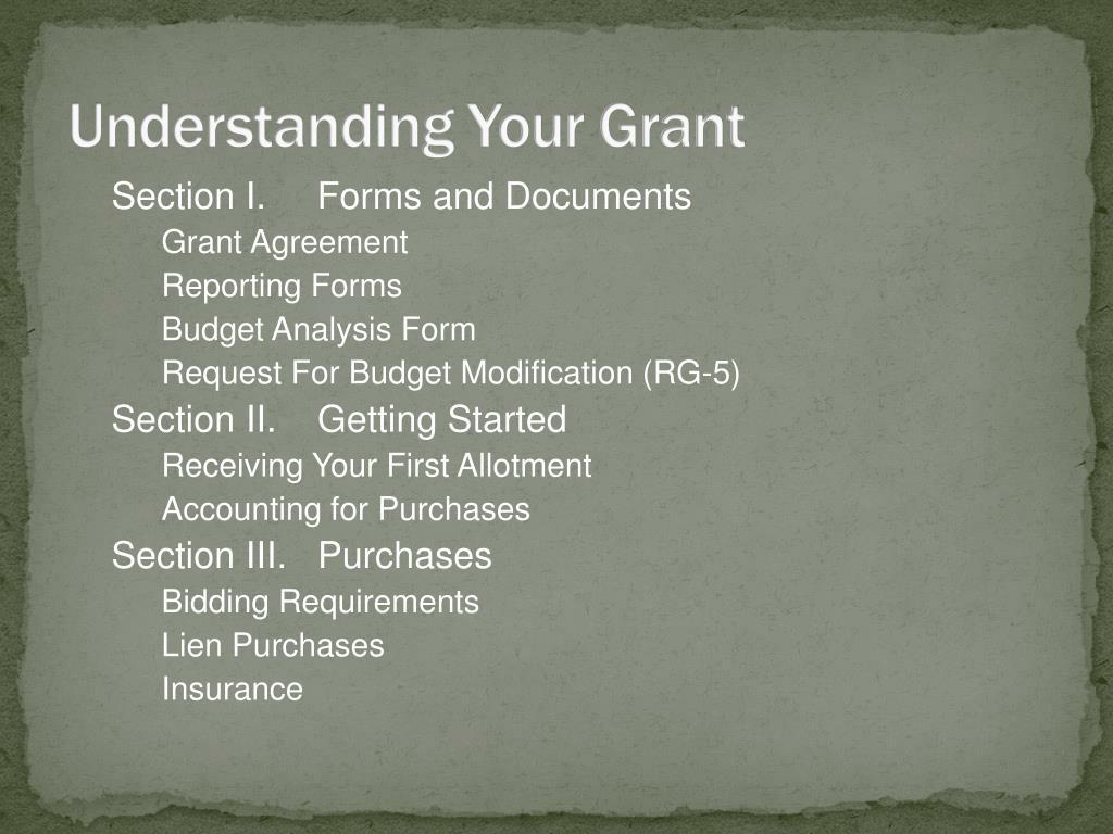 Understanding Your Grant