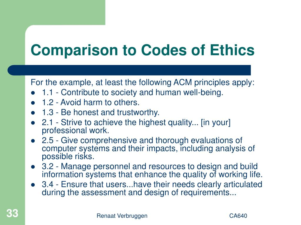 Comparison to Codes of Ethics