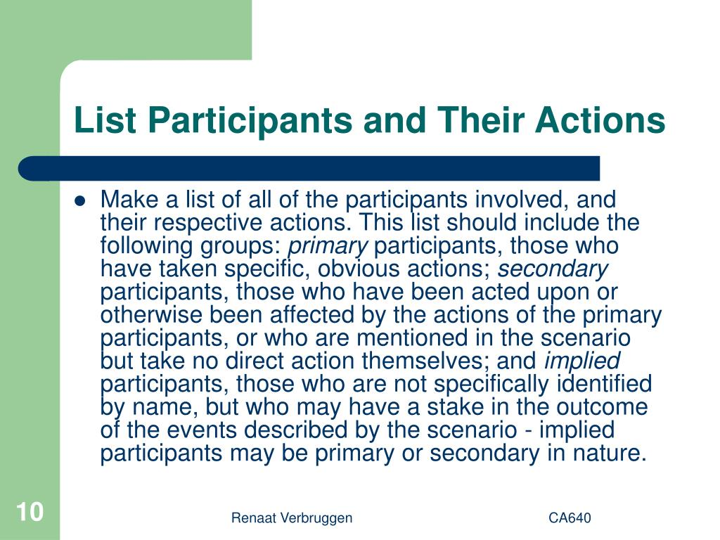 List Participants and Their Actions