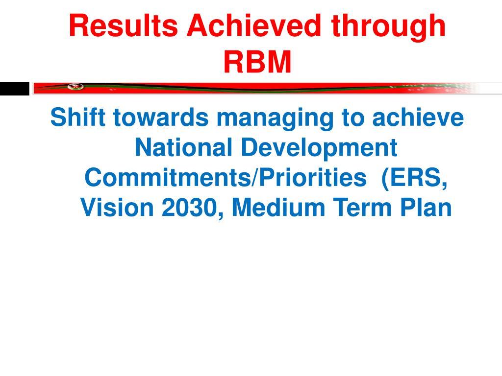 Results Achieved through RBM