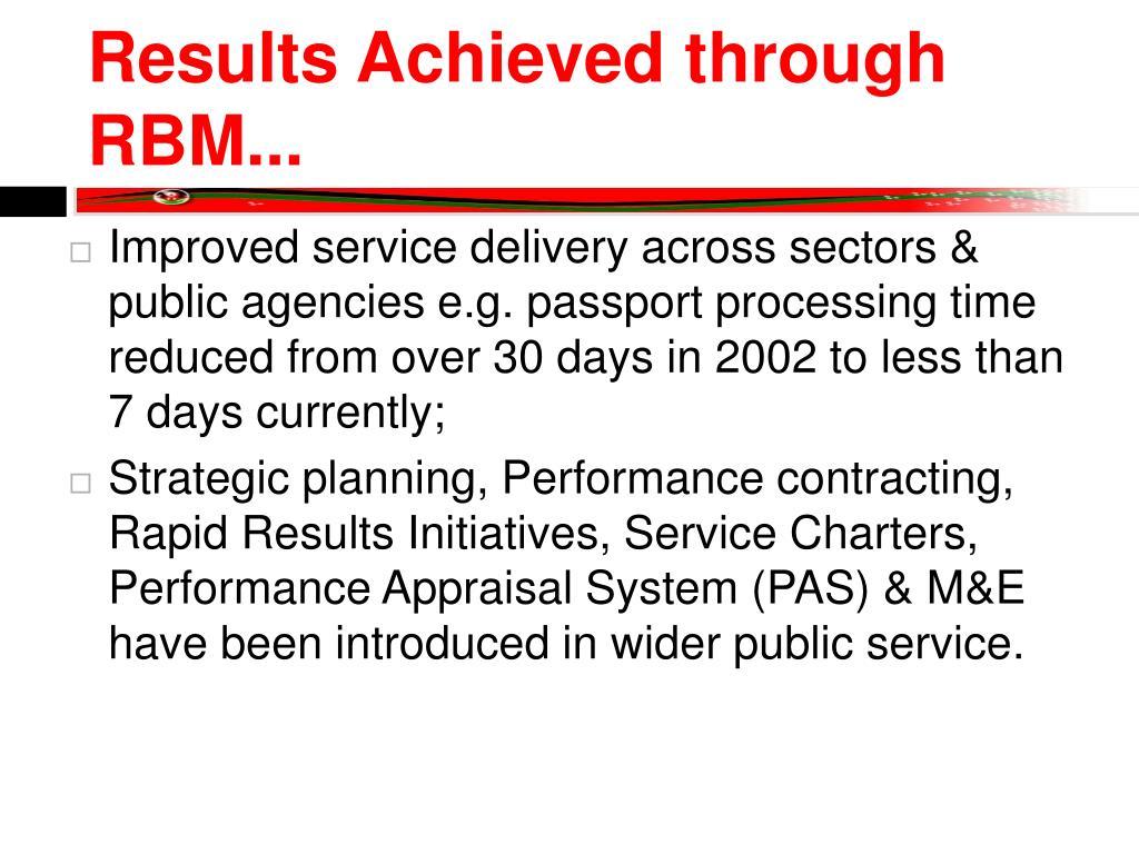 Results Achieved through RBM...